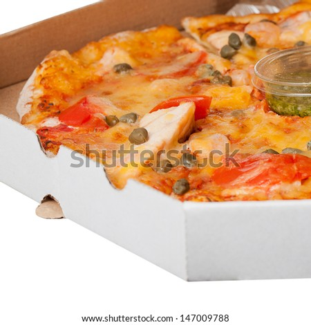 Close up of hot and fresh Supreme Pizza in the delivery box