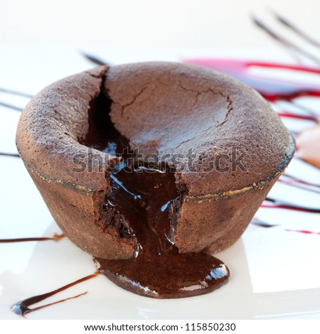 Close up of hot chocolate coulant dessert cake. - stock photo