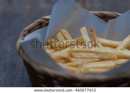 Close up of hot french fries.