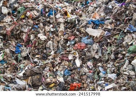 Close up of huge pile of municipal waste - stock photo