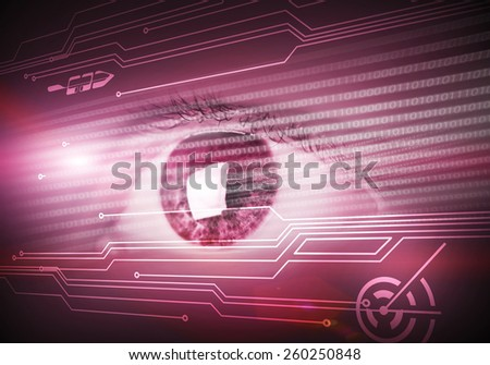 Close up of human eye on digital binary background - stock photo