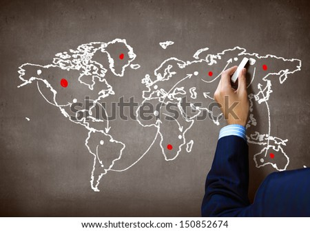 Close up of human hand drawing idea of connection - stock photo