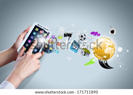 Close up of human hand holding smart phone