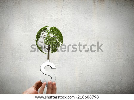 Close up of human hand holding sprout - stock photo