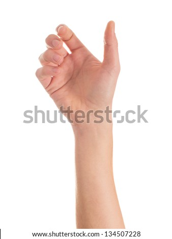 Close-up Of Human Hand Isolated On White Background - stock photo