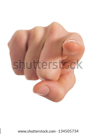 Close-up Of Human Hand Pointing Over White Background - stock photo
