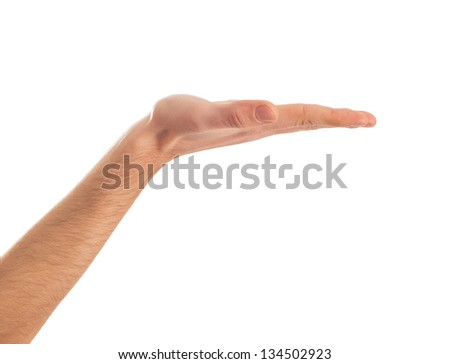 Close-up Of Human Hand Presenting On White Background