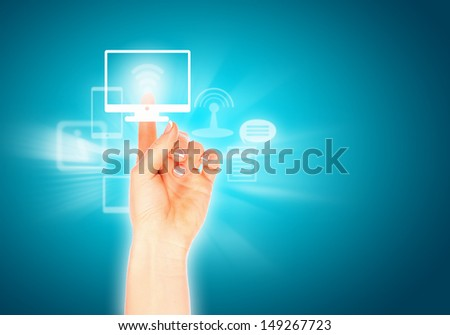 Close up of human hand pushing media icon