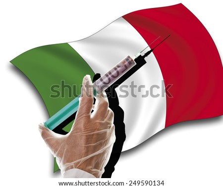 Close up of human hand with cash injection on italian flag - stock photo