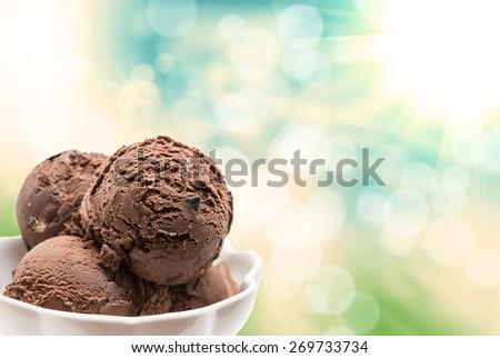 Close up of ice cream - stock photo