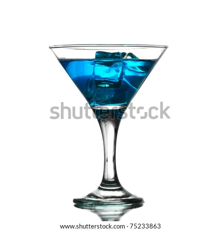 Close up of ice cubes in a blue martini - stock photo