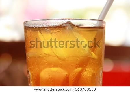 Close up of iced tea in a glass - stock photo