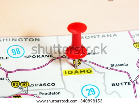 Close up of  Idaho  state USA  map with red pin - Travel concept