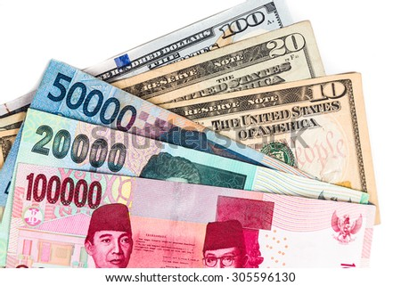 Close up of Indonesia Rupiah currency against USD. - stock photo