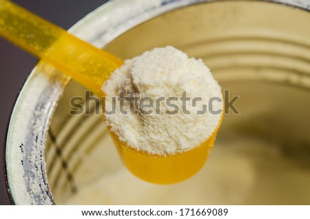 close up of infant formula on background