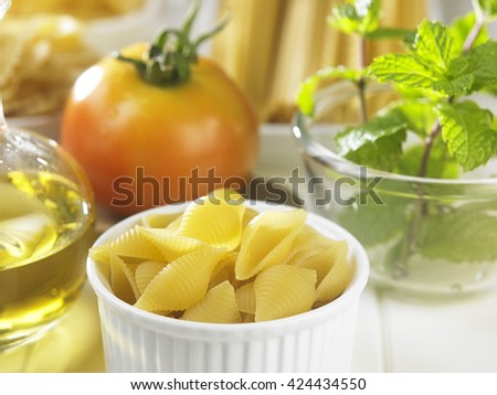 Close up of ingredient of the  pasta