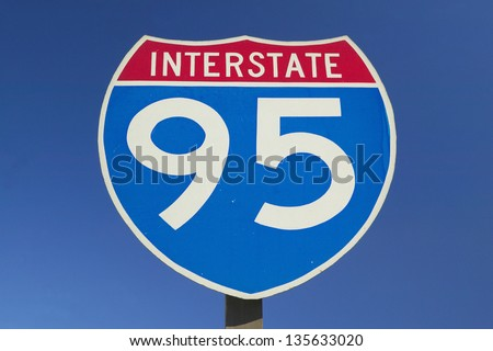 Close-up of Interstate Highway 95 sign