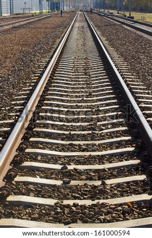 Close up of iron line of railway  track - stock photo