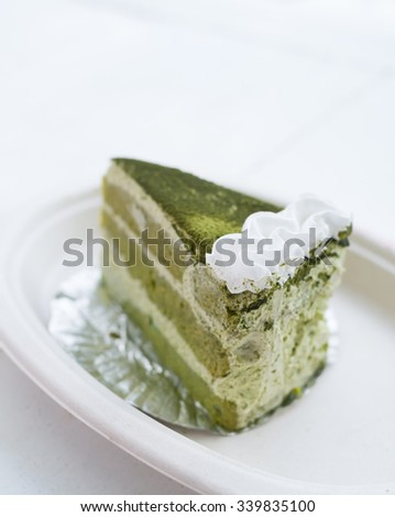 Close Up of Japanese Matcha Green Tea Cake