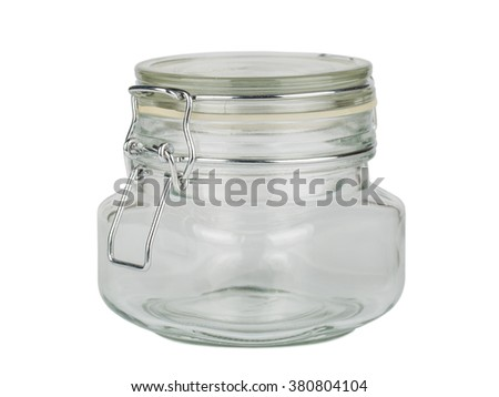 Close up of jar with cap isolated on white background