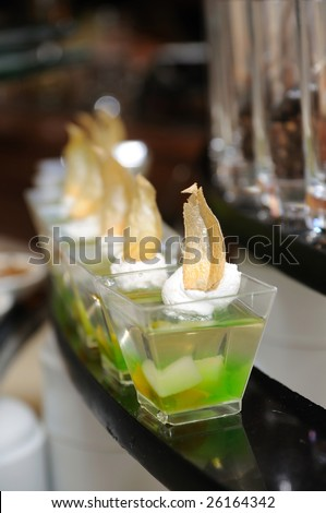 Close up of jelly cup dessert