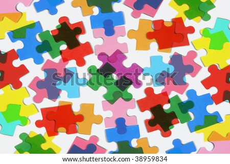 Close Up of Jigsaw Puzzle Pieces