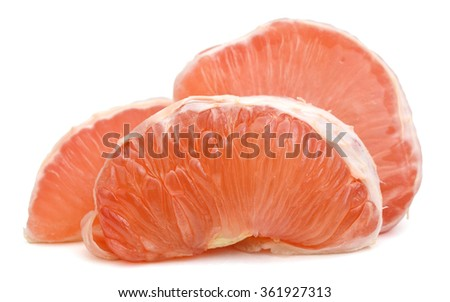 Close up of juicy fresh grapefruit isolated white