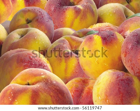 close-up of juicy ripen peaches as background - stock photo