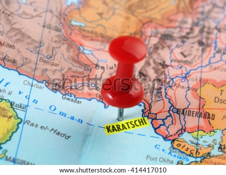 Close up of Karachi Pakistan  map with red pin  - travel concept - stock photo