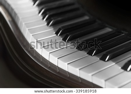 Close up of  keyboard of vintage piano - stock photo
