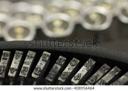 Close up of keys on an old vintage type writer.