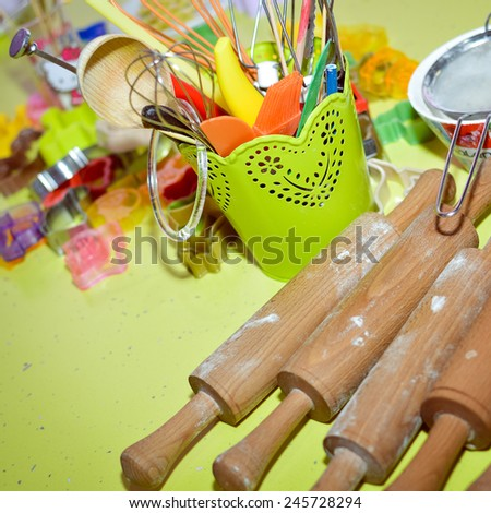 Close up of kitchen rollers utensils set on table - stock photo