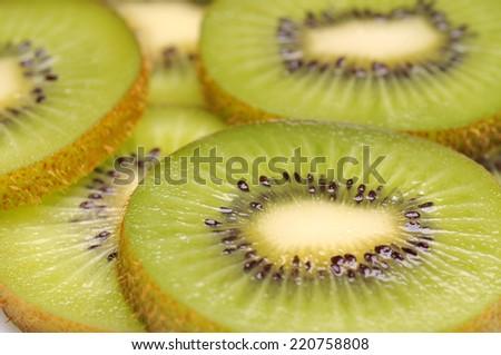 Close up of kiwi slices  - stock photo
