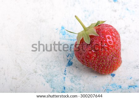 Close up of Korea strawberry with green leaves - stock photo