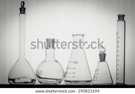 close-up of laboratory glassware ,science background - stock photo