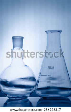close-up of laboratory glassware ,science background abstract