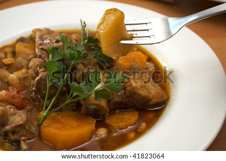 close-up of lamb stew in a white bowl