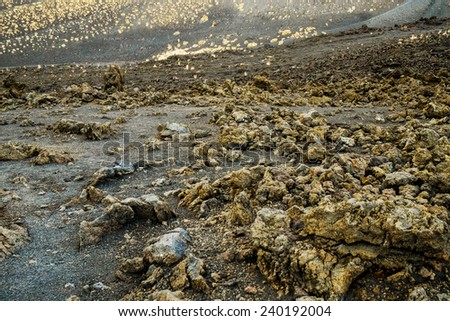 Close up of lava in mount Etna, Sicily, Italy - stock photo