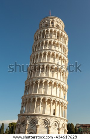 Close up of Leaning tower of Pisa, Italy  - stock photo