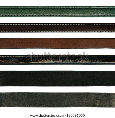 close up of leather belts isolated on white background - stock photo