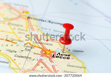 Close up of  Lecce , Italy map with red pin    - Travel concept - stock photo
