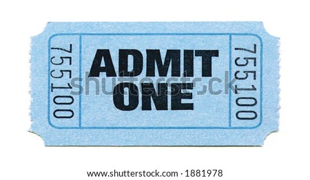 Close-Up of Light Blue General Admission Ticket Isolated on a White Background - stock photo