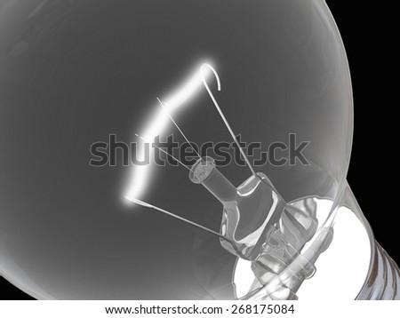 Close up of lightbulb on black background - stock photo