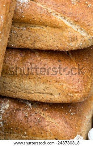 Close up of  loaves of bread traditionally roasted.   - stock photo