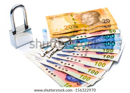 Close up of lock and money, isolated on white secured - stock photo