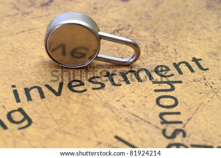 Close up of lock on investment