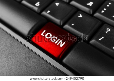 Close up of Login keyboard button - stock photo