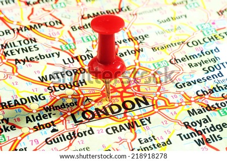 Close up of  London ,United Kingdom  map and  red pin - Travel concept - stock photo