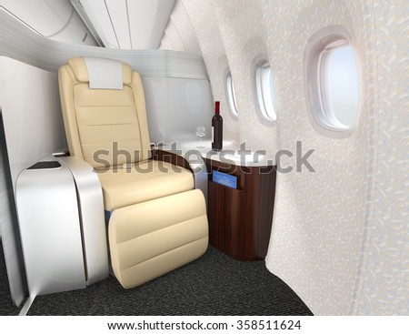 Close-up of luxurious business class seat with metallic silver partition. 3D rendering image in original design. - stock photo