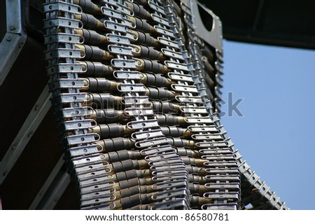 Close up of machine gun bullets used on an World War II era bomber.